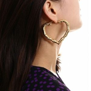 Gold Heart Bamboo Doorknocker Hoops Earrings
